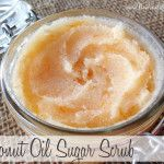 Coconut Oil Sugar Scrub-- 1 part sugar, 2 parts coconut oil, any scents... We whipped it to make it creamy. My 10 year old made it (help) and I LOVE this!