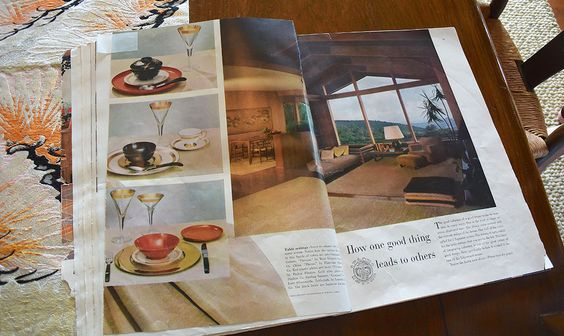 1958 House Beautiful advertorial featuring the Liljestrand House. The complete issue was devoted to the home, selected as its Pace Setter House. They still have the dinnerware photographed for the spread.