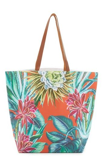 tropical floral print tote