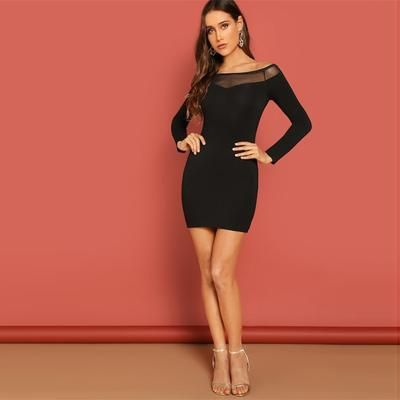 cef5ad9a27 SHEIN Black Contrast Mesh Insert Off Shoulder Bodycon Stretchy Plain Dress  Women Elegant Flared Long Sleeve Spring Dresses