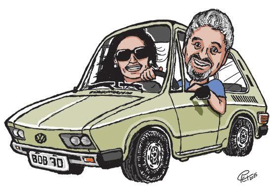 Colorização digital. Caricatura Bob, a esposa e a brasília.