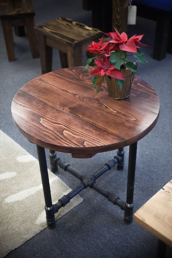 Round industrial end table end table with black metal for Rustic pipe table