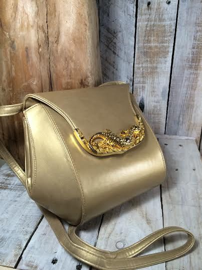 Gold Evening Bag - vintage evening purse - metallic gold purses handbags - bucket bags handbags - Lizard  by BostonInventory