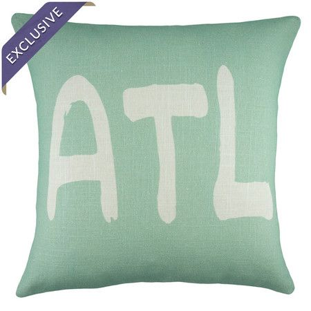 Mint and ivory linen pillow with a text motif. Handmade in the USA.  Product: PillowConstruction Material: Linen...