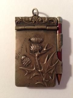 """Gift - """"Keys to the Cellar"""" on Release. Vintage thistle notepad and pencil- I like this design. Maybe painted, maybe fabric and paper.:"""