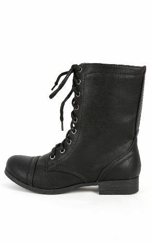 AwesomeNice Soda Relax-s Lace Up Combat Boots BLACK