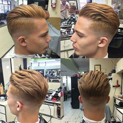 Mid Fade with Hard Part and Long Comb Over