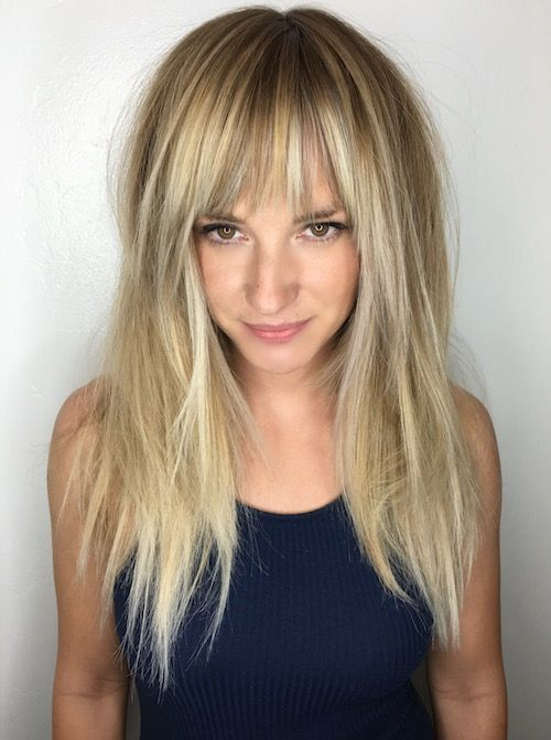 Long Fine Hair With Full Balayage Bangs In 2019 Long Thin