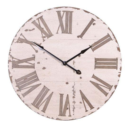 Cream Rustic Oversized Wall Clock