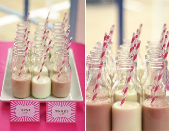 Party Idea for Little Ones: Serve milk in jars with fun straws for added decor!