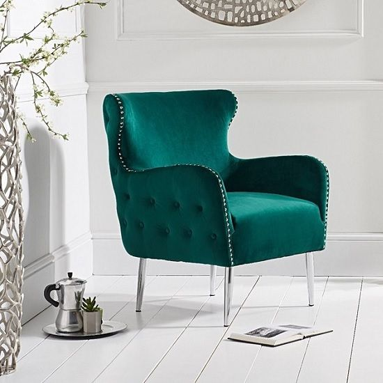 Tyrell Modern Accent Chair In Green Velvet With Metal Legs