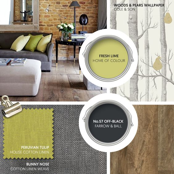 Monday Moodboard - Give naturally inspired decor a zesty twist with lime green set against dark grey. Bare bricks and vintage oak lend a rustic edge, whilst this fun wallpaper from Cole & Son adds some humour... #theloungeco #moodboard #interiormoodboard #paintswatches #wallpaper #interiordesign #lounge #loungedecor #livingroomdecor #green #limegreen #greenandgrey #natural