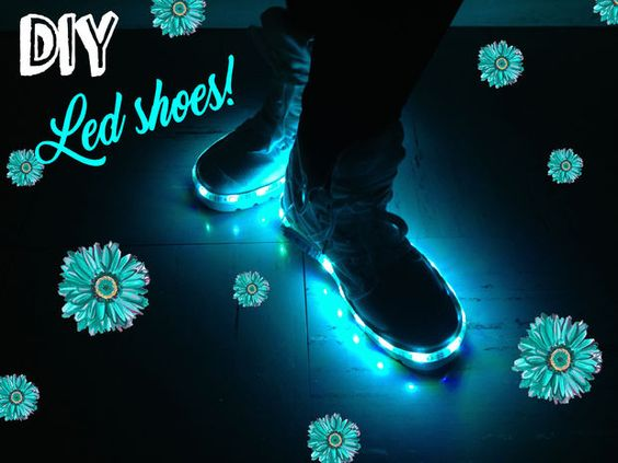 This battery powered glowing light up led shoes project is a step by step tutorial that is a fashion show stopper for a special event such as school dances