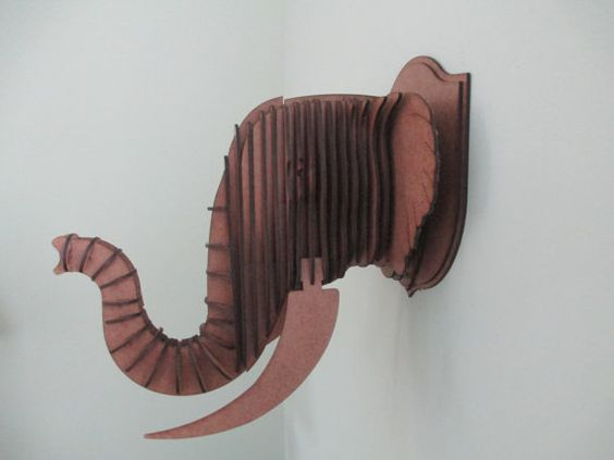Elefante madera media cabeza trofeo de pared por HeadsOnAWall