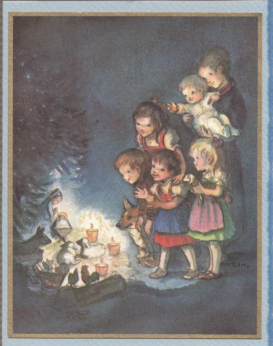 RARE Tasha Tudor Vintage Irene Dash Christmas Tree Card MINT FT95-34K with Corgi
