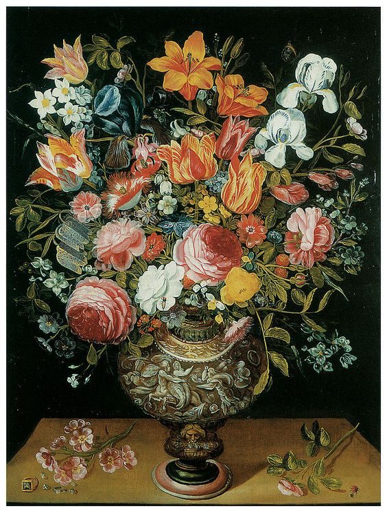 Andries Daniels (c.1580-1640) —  Roses Tulips Irises And Other Flowers In A Sculpted Urn (680x900):