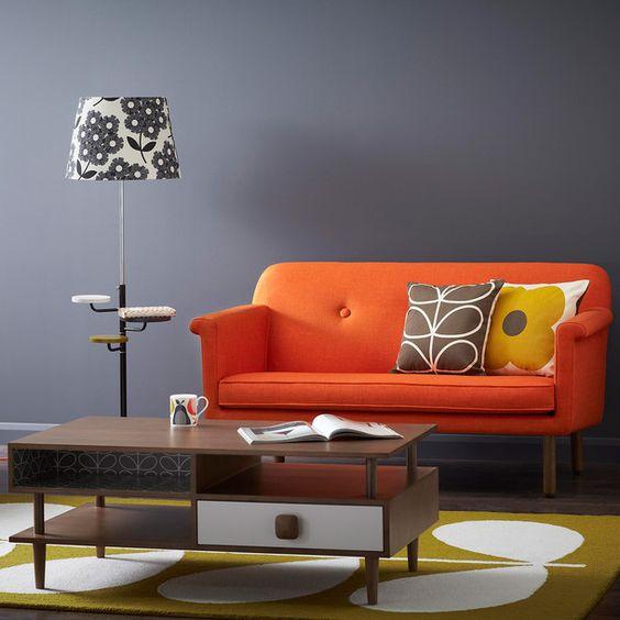 fabulous modern orange living room | Sofa Orange | Orange couch, Grey and Modern living rooms