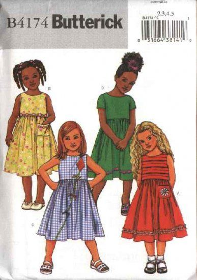Butterick Sewing Pattern 4174 Girls' Size 6-7-8 Easy Classic Sleeveless Short Sleeve Dresses  --  Butterick+Sewing+Pattern+4174+Girls'++Size+6-7-8+Easy+Classic+Sleeveless+Short+Sleeve+Dresses