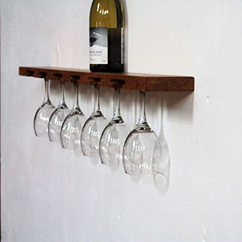 Wine Glass Holder Floating Shelf Glassware Stemware Wooden Wall Rack Home Bar Storage Shelf Amazon Co Uk Handm In 2020 Stemware Storage Glassware Storage Bottle Rack