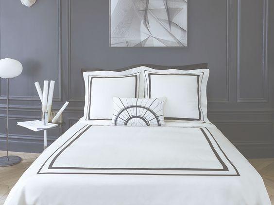 parure de lit faubourg satin de coton albâtre #descamps french
