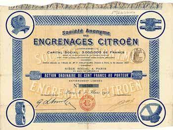 S.A. des Engrenages Citroën Action 100 F 1.3.1913. Gründeraktie (Auflage 15000).
