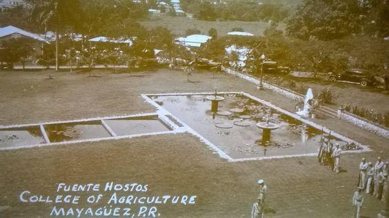 Fuente Hostos en el Colegio de Agricultura de Mayaguez, Puerto Rico circa 1930.