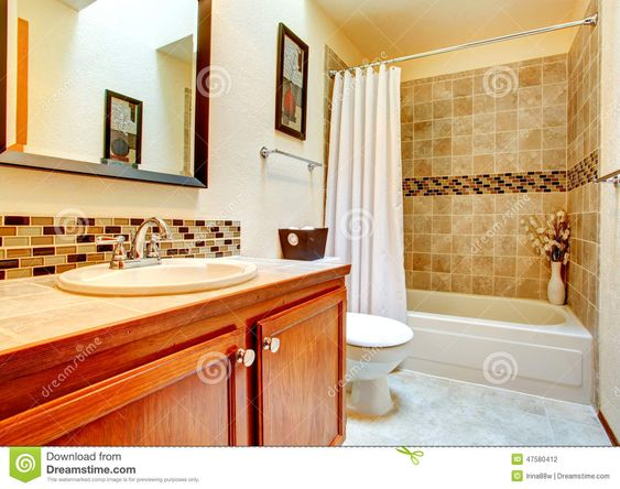 Bathroom Interior With Beige Tile Wall Trim Stock Photo - Image: 47580412