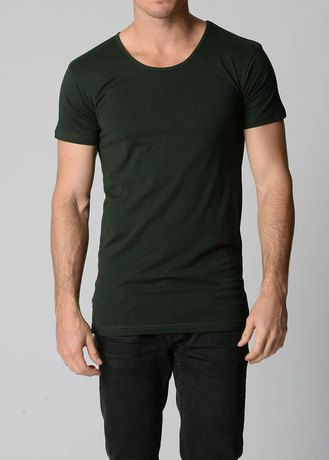 Simple, clean cut basic t shirt, and trousers. (not a fan of black and green... but you get the idea)