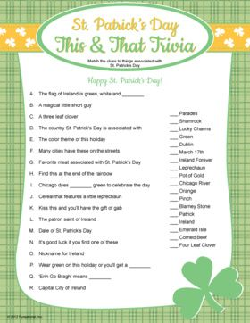 Refreshing image throughout st patrick day trivia questions and answers printable