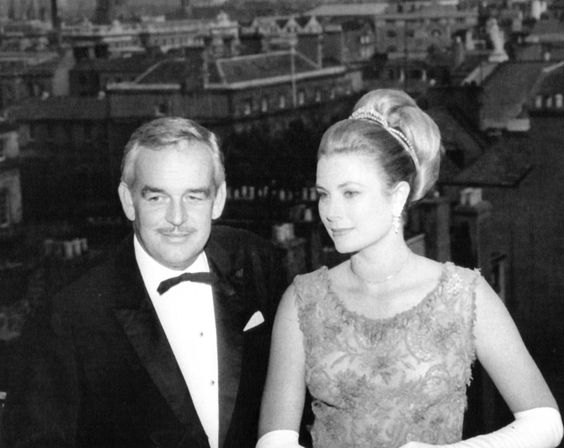 Princess Grace and Prince Rainier at Le Bal de Petits Lits Blancs held at Powerscourt in Enniskerry, County Wicklow, Ireland, in July 1965.