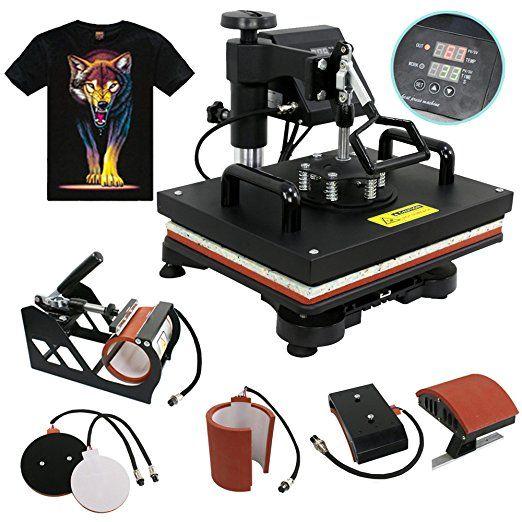 12x15 8-in-1 Heat Press Machine Professional 360 Swing-Away T Shirt Press