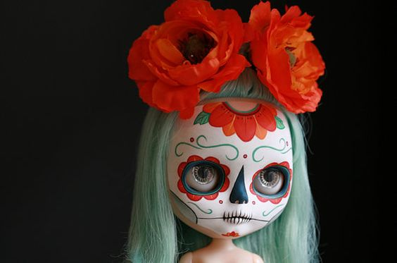 Set of 3 Dia de los Muertos Calavera Blythe by melancholykitties, $3.00