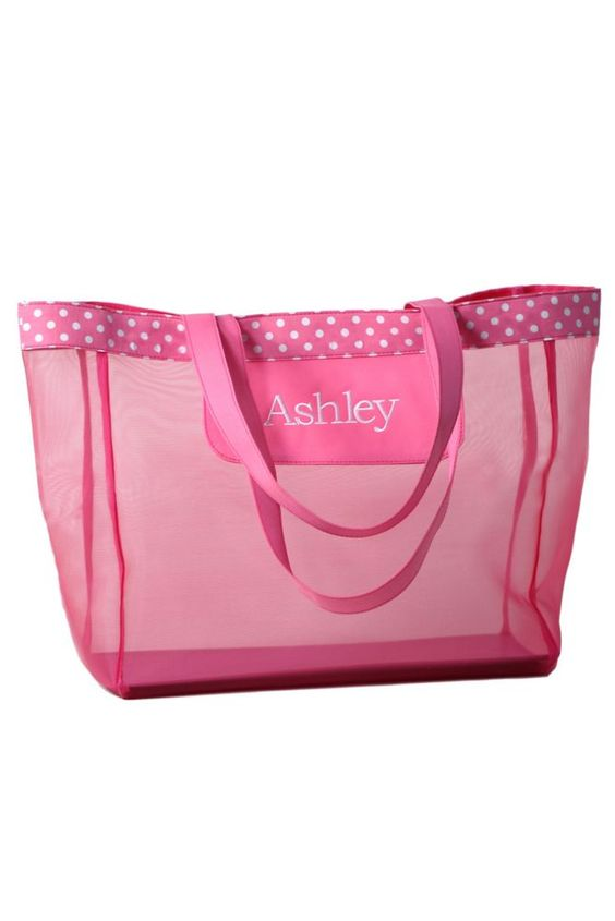 DB Exc Personalized Pink Polka Dot Mesh Tote Bag Style 41181177