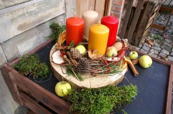 """Adventskranz - Adventskranz auf Baumscheibe """"Gewürzliebe"""" - ein Designerstück von kleineGartenwerkstatt bei DaWanda"""