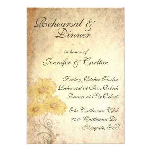 Sunflowers Wedding Rehearsal Dinner Invitation