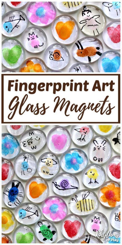 Invite children to use their fingertips and thumbs to make Fingerprint Art Glass Magnets. Thumbprint art glass magnets are an easy craft for kids and a simple homemade gift idea kids can make for Mother's Day, Father's Day, Birthdays and Christmas. #Rhyth
