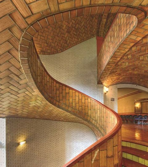 Raphael Gustavino - Built in 1914, the Guastavino vaulted staircase in Baker Hall at Carnegie Mellon University is so complex that MIT students have not yet figured how to replicate it. Photograph by Michael Freeman: