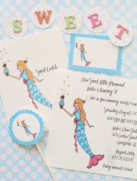 Sweet Catch- Mermaid with Cupcake Invitations, Cards, Cupcake Flags and Gift Tags