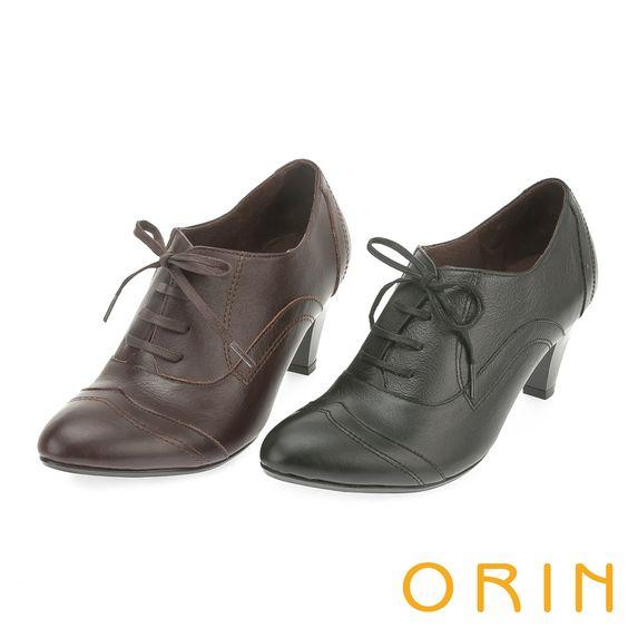 2480--英倫街頭時尚 尖頭牛皮綁帶牛津高跟鞋-黑色 - 6.5CM