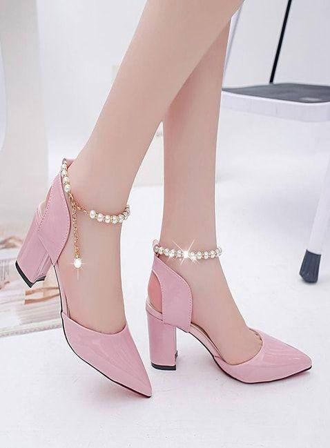 Ladies Pink Medium Heal Sandals Provestyles Absatz Schuhe Frauen Modestil