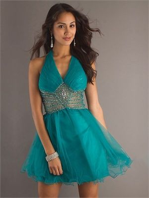 halter A-line open back grass green or black Mini with Sequins Prom Dress PD0268