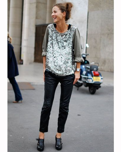 {sequins + skinnies : via elle} the perfect way to wear glitter in the daytime: