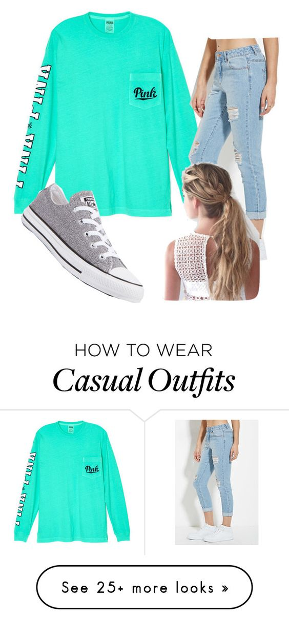 """""""Super Cute Casual"""" by theashley07 on Polyvore featuring Victoria's Secret, Forever 21 and Converse"""