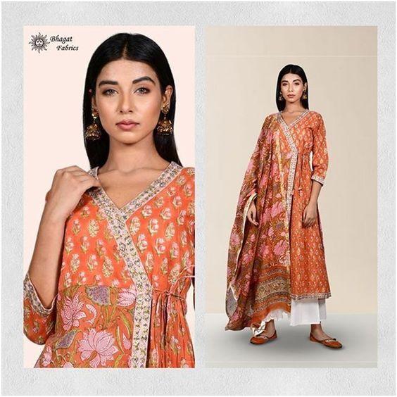 Traditional mid silt Kurti- Bhagat Fabric