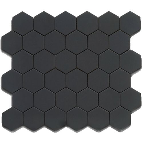 Cc Mosaics Matte Hexagon Black 2 Mosaic On 12x12 Sheet In 2020 Black Tiles Mosaic Backsplash Black Tile Bathrooms