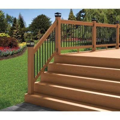Cedar Tone Stair Deck Railing Kit With Black Aluminum Balusters | Deck  Railing Kits, Deck Railings And Decking