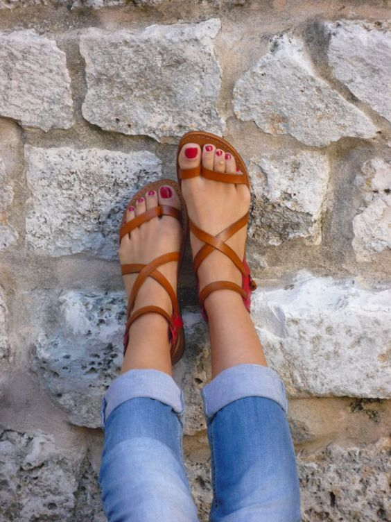 Sandals model Capri  Gladiators Sandals Handmade di SandaliShop