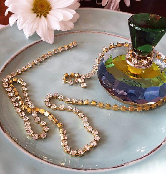Cupchain Gold Rhinestone Chain Linked
