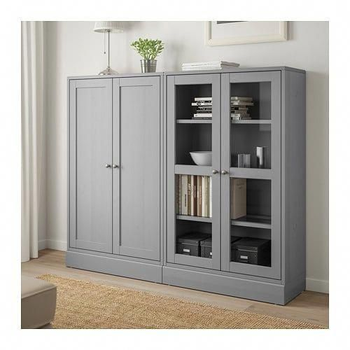 Havsta Storage Combination W Glass Doors Gray Ikea Office Storage Cabinets Storage Cabinets Glass Cabinet Doors