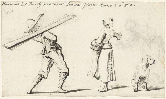 Harmen ter Borch | Man, een vrouw en een hond, Harmen ter Borch, 1650 | Studieblad met een man, een vrouw en een hond; achter de hond is de uitgegumde schets van een derde figuur zichtbaar, een vrouw.